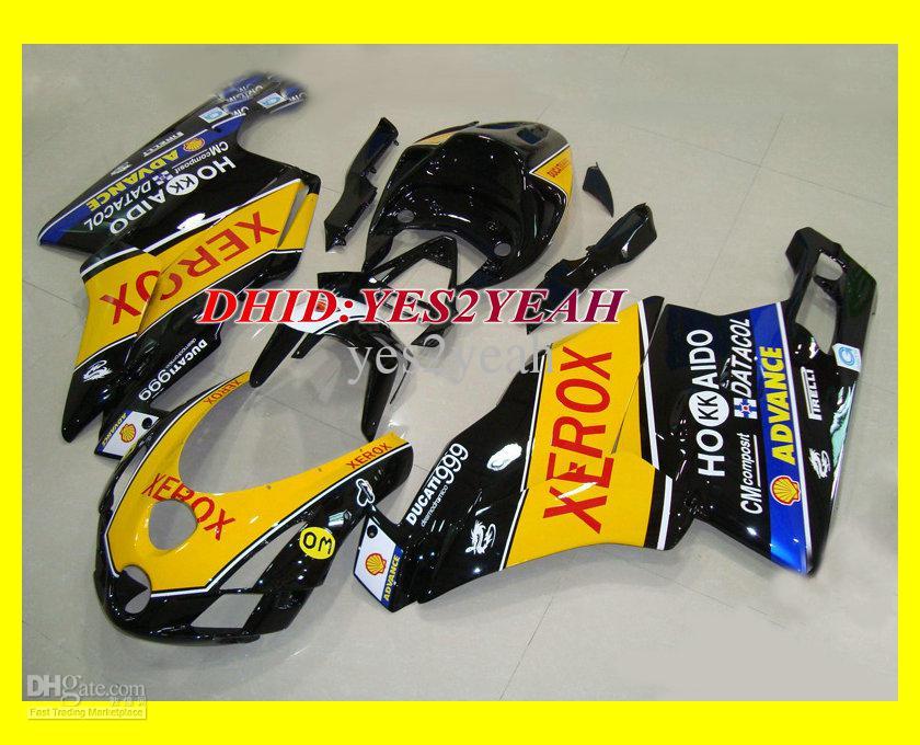 黄色い黒射出フェアリングボディキットドゥカティ749 999 03 04ボディワーク749 999 2003 2004オートバイのフェアリゾーンセット+ギフト