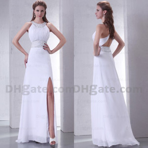Good Design Split Strapless Halter Chiffon Full Length 2019 Long Bridesmaid Dress With Open Back BD031 on Sale