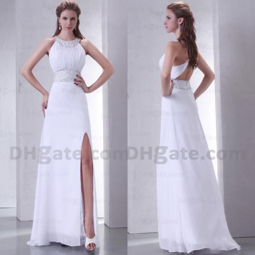 Good Design Split Strapless Halter Chiffon Full Length 2019 Long Bridesmaid Dress With Open Back BD031