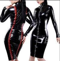 Wholesale bodysuit spandex clubwear - Nightclub Hen Clubwear Outfits MS Fancy party Dress SEXY EXOTIC 1PC ROPE PVC BLACK BODYSUIT LINGERIE 747 one size S-L