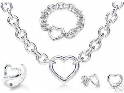 Designer Jewelry Heart lock New Jewelry Sets 925 Sterling Silver Bracelet and Necklace Sets Fashion womens Jewelry Sets with box glitter2009