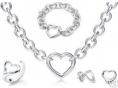 Tasarımcı Takı Kalp kilit Yeni Takı Setleri 925 Ayar Gümüş Bilezik ve Kolye Setleri Moda bayan Takı Setleri ile kutu glitter2009