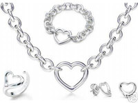 Wholesale Locking Heart Necklace - Designer Jewelry Heart lock New Jewelry Sets 925 Sterling Silver Bracelet and Necklace Sets Fashion womens Jewelry Sets with box glitter2009