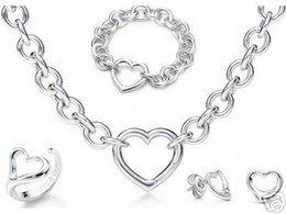 Wholesale Womens Gift Sets - Designer Jewelry Heart lock New Jewelry Sets 925 Sterling Silver Bracelet and Necklace Sets Fashion womens Jewelry Sets with box glitter2009