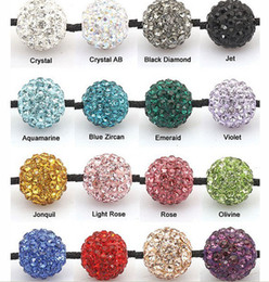 Wholesale Crystal Disco Bead Balls - 10MM DIY Clay Crystal Shamballa Beads Pave Rhinestone Disco Balls Beads Mix Colors Free Shipping