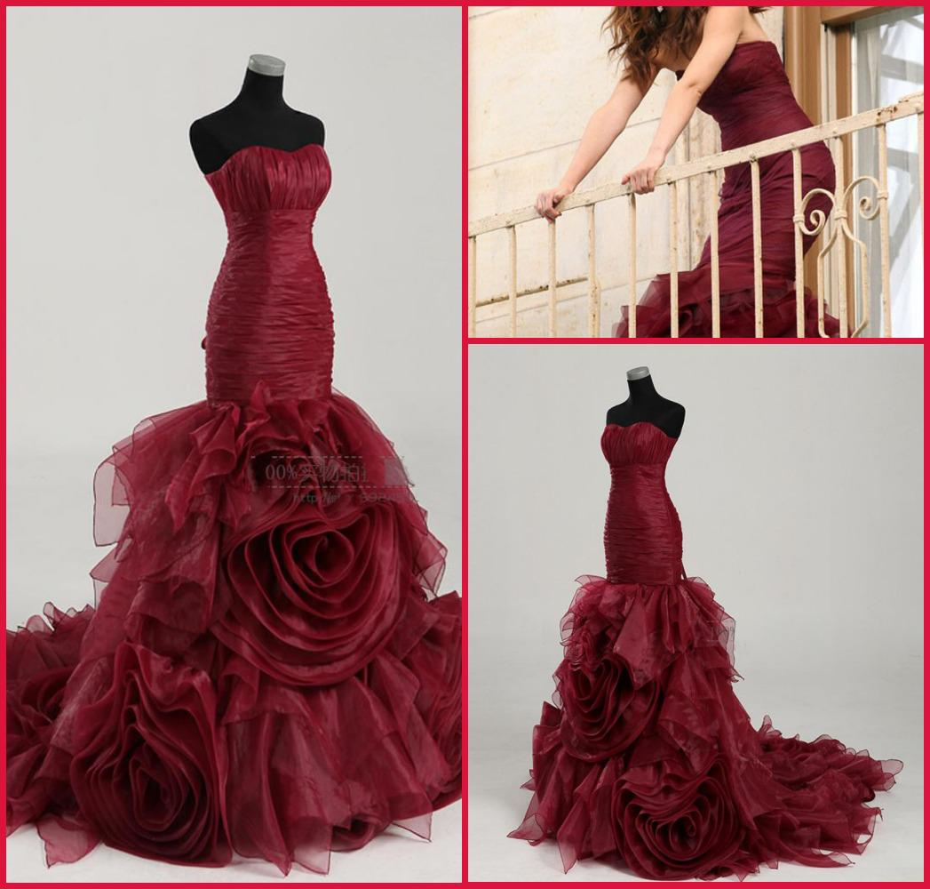 2014 Designer Sexy Custom Made Wine Red Rosette Mermaid Fishtail