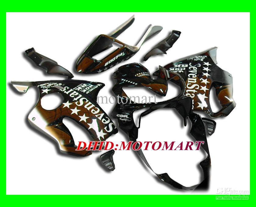 7 stjärnor Black Fairing Kit för Honda CBR600F4I 04 05 06 07 CBR600 F4I 2004 2005 2006 2007 CBR 600F4I Fairings Set