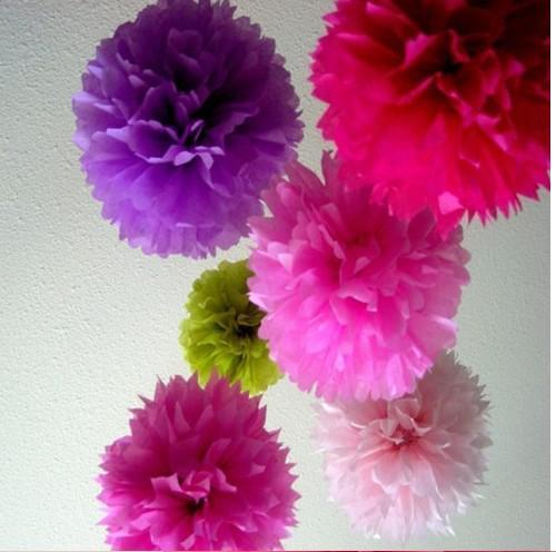 14 inç Doku Kağıt Pom Poms Kağıt Fener Pom Pom Blooms Çiçek Topları