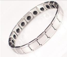 Ingrosso Bracciale in fibra magnetica per la salute, presidente 20 pietre, bracciale in acciaio inossidabile in meno, braccialetto in germanio