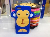 étuis iphone singe silicone achat en gros de-1 pièce Étui souple en silicone de haute qualité Style Monkey 3D pour iPhone 5 Livraison gratuite
