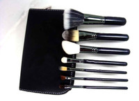 Wholesale Cosmetic Brushes Roll Up Bag - New Brand Free Shipping 7 pcs Makeup Brushes Cosmetic Make up Brush Set Kit Tool + Roll Up Black Faux Leather Bag Case