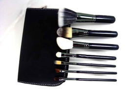 Wholesale Roll Kits - New Brand Free Shipping 7 pcs Makeup Brushes Cosmetic Make up Brush Set Kit Tool + Roll Up Black Faux Leather Bag Case