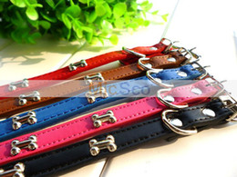 Wholesale Genuine Leather Dog Harness - 5colors free shipping Bone soft genuine leather dog collar