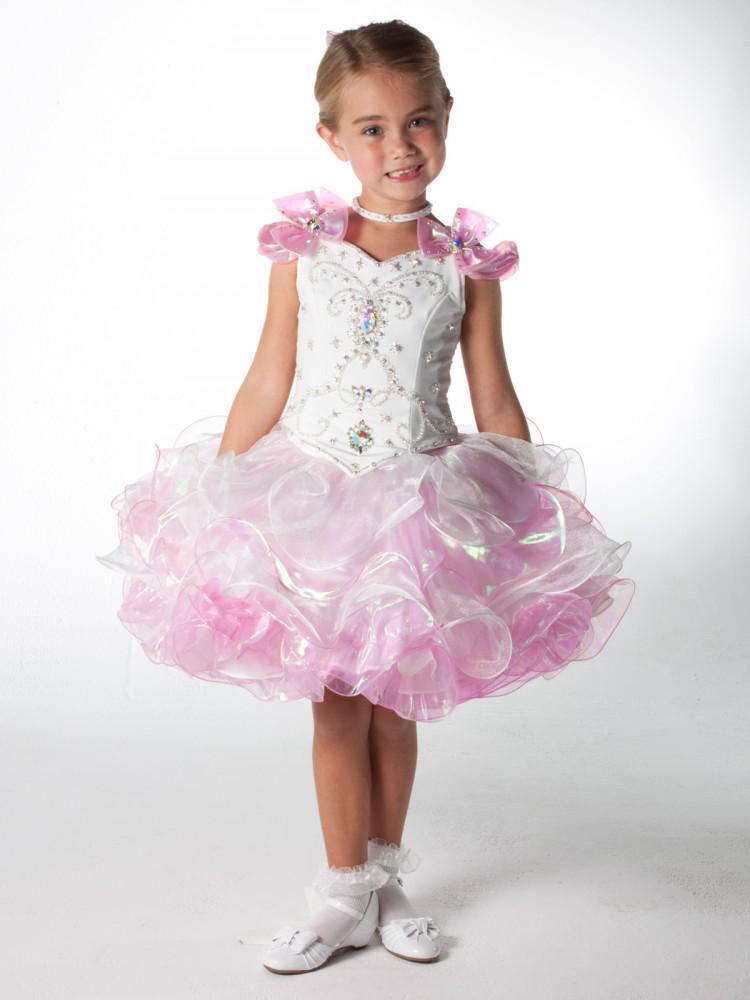 2013 New White And Pink Beaded Mini Flower Girl Dress Toddler ...