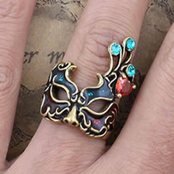 top popular Gothic Royal Vintage Mask RING Ring ring Women Charm fashion RINGS Rings rings Masquerade Rings 2020