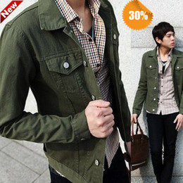 Wholesale Single Clothing Plus Size - New Year Men jacket mens cotton denim Slim sportsman fashion outdoor mens coat Army green clothing casual jackets Plus size 5XL
