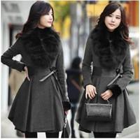 кожаные шубы женские оптовых-Элегантный корейский длинные шерстяные пальто Женщин Осень Зима с меховым воротником плиссированные натуральная кожа талии шерсть пальто Леди длинное пальто темно-серый
