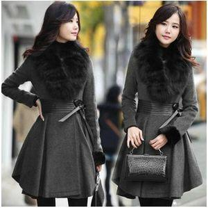 Wholesale Elegant Korean Long Woolen Coat Women Autumn Winter with Fur Collar Pleated Genuine Leather Waist Wool Coat Lady Long Overcoat Dark Gray