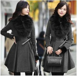 Wholesale Genuine Leather Long Coats - Dark Gray Color 2016 Elegant Autumn & Winter Women Long Fur Collar Pleated Genuine Leather Waist Wool Coat Lady Long Overcoat