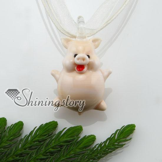 Pig Handgemaakte Lampwork Murano Glas Geassorteerde Kleur Ketting Hangers Goedkope China Mode Jewerly Mup123