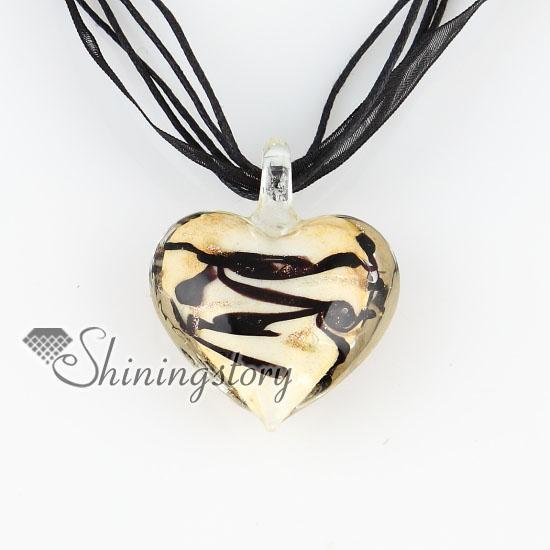 dia dos namorados coração amor glitter com linhas lampwork murano Italiano veneziano moda artesanal colares de jóias MUP124