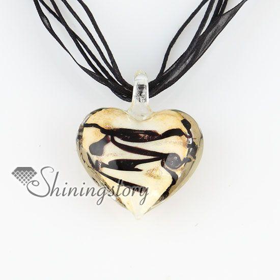 Valentinstag Herz Liebe Glitter mit Linien Lampwork Murano italienische venezianische handgefertigte Modeschmuck Halsketten MUP124