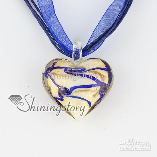 saint valentin coeur amour paillettes avec lignes Murano italien vénitien fait main bijoux de mode colliers MUP124