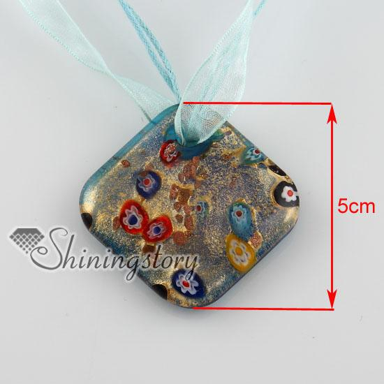 rhombus glitter millefiori murano necklace jewelry High fashion jewelry Fashion pendants Fashion jewelry in bulk MUP132