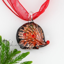Wholesale Murano Glass Gold Pendant - hedgehog urchin with flowers inside glitter italian glass murano handmade glass pendatns necklace cheap fashion jewelry MUP133