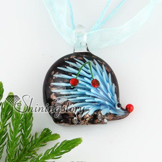 ouriço ouriço com flores dentro do brilho de vidro italiano murano pingentes de vidro artesanal colar de moda barata jóias MUP133