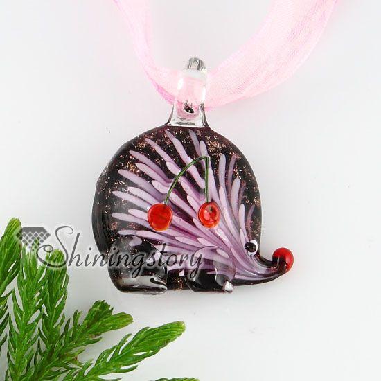 hérisson oursin avec fleurs à l'intérieur paillettes verre italien murano main verre pendatns collier pas cher bijoux de mode MUP133