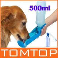 Wholesale Dog Automatic Feeding - Potable Pet Dog Cat Water Feeding Drink Bottle Dispenser Travel Bowl 500ml 5pcs lot Freeshipping Dro
