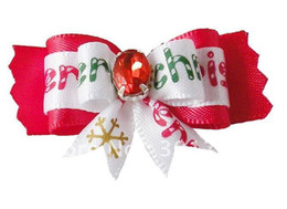 Wholesale Dog Products Christmas - 100pcs  lot Free shipping Christmas dog bows hair bows,pet accessories pet hair ornament pet ornimen
