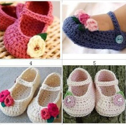 Wholesale Wholesale Handmade Baby Clothing - FLOWER BABY CLOTHES BOOTIES SHOES MARY JANE 0-12 MONTHS CROCHET handmade infant baby shoes