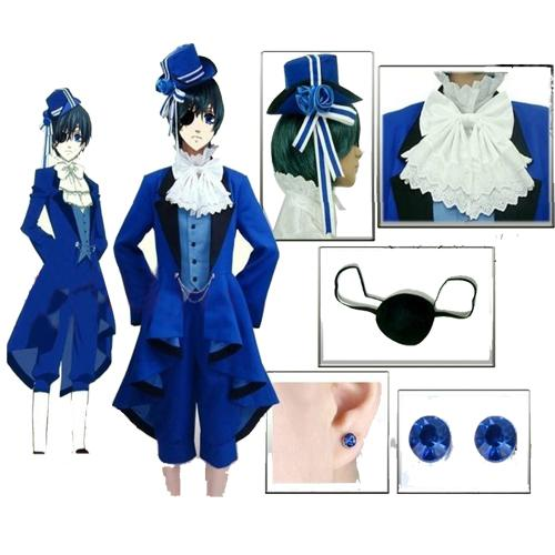 Free Shipping Black Butler Ciel Phantomhive Cosplay Costume full set Custom made any size