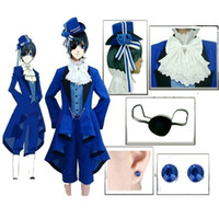 ciel phantomhive cosplay completo venda por atacado-Frete Grátis Black Butler Ciel Phantomhive Cosplay Conjunto Completo Custom made qualquer tamanho