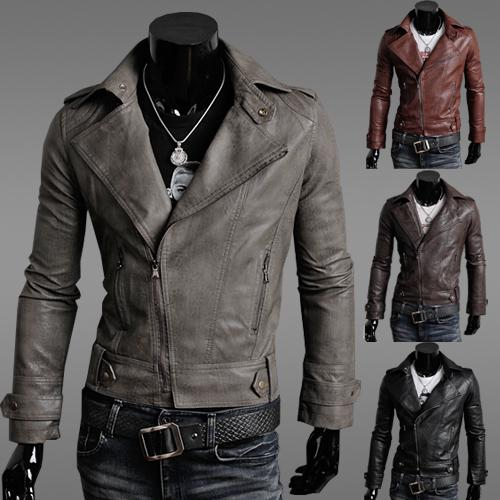 mens clothing slim male leather jacket outerwear male mens black