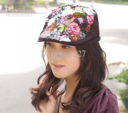 Fashion Korean Style women's Snapback hats Berets Autumn Warm Hat Caps with Colorful paillette