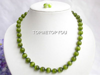 opal inci kolye toptan satış-Güzel Inci Takı güzel Set 18 INÇ 10mm yuvarlak yeşil Opal taş kolye saplama küpe