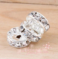 Wholesale Silver Plated Round Rhinestones Beads - Hot ! 100pcs Plated Silver Rhinestone Round Beads Spacer 10mm DIY jewelry