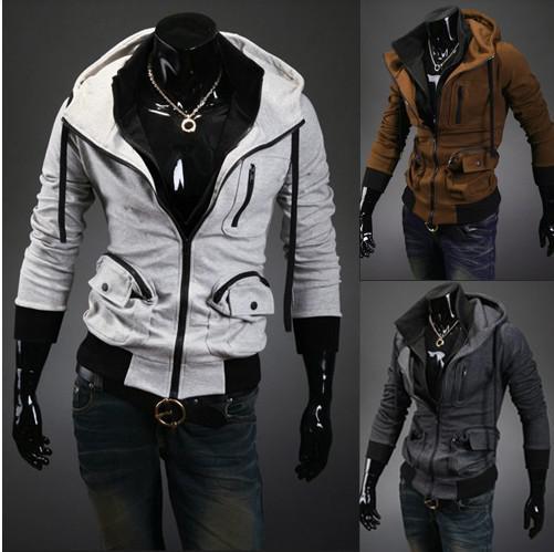 Hot! Men Coats Jackets Hooded Jacket Big Pocket Slim Sweater #2470 ...