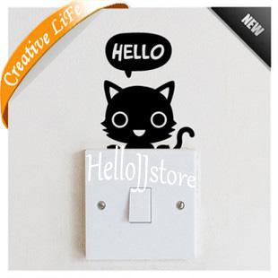 Cute Pet Light Switch Wall Art Notebook Vinyl Sticker Home Kids Room