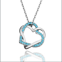 Wholesale czech crystal necklaces - Fashion Top jewelry plated 18K white gold Czech diamond heart pendant necklace free shipping 10pcs
