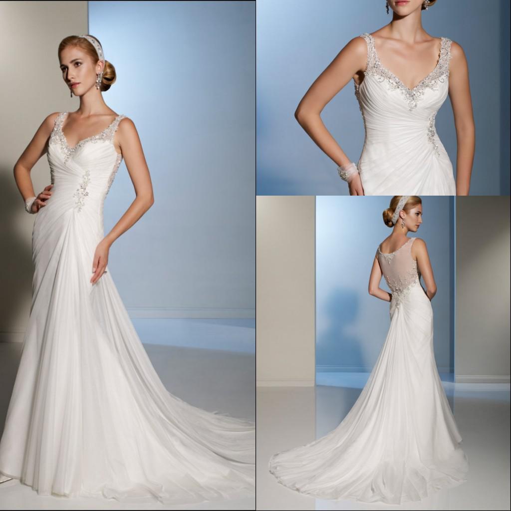 50% Off Cheap Ivory 2013 Watteau Wedding Dresses Sheer