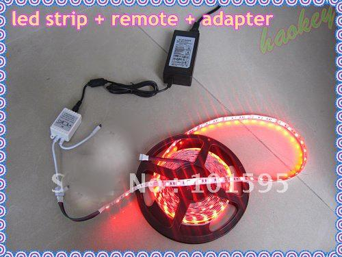 5M 5050 RGB LED-Streifen 16ft 5M 300 LEDs WASSERDICHT +44 IR-FERNBEDIENUNG Controller + Stromversorgung 12V 110V-240V