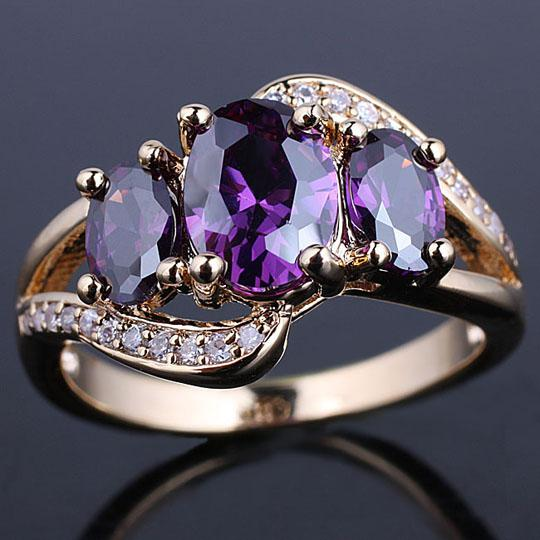 2018 Gold Plated Women Fashion Ring 3 Stone Simulated Purple