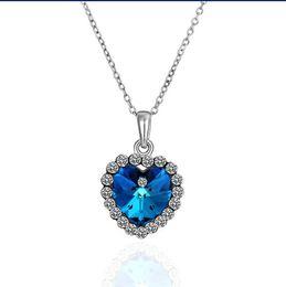Wholesale Crystal Heart Ocean Titanic - Top jewelry plated 18K platinum Austrian Crystal Titanic Heart of Ocean Pendant Necklace 10pcs lot