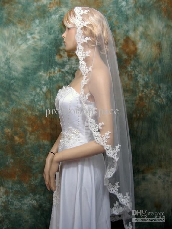 2012 Mantilla Veil Bridal Wedding Veil Ivory 50x50 Fingertip Alencon Lace Wedding Accessories