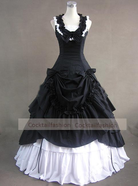 Discount Gothic Victorian Dress A Line Layered White Black Bow ...