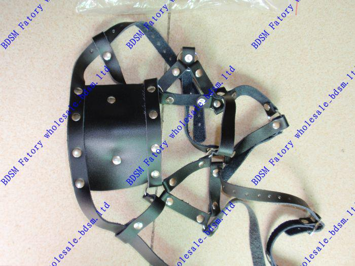 BDSM FATORY Black Full Harness Muzzle with Soft Rubber Ball Gag